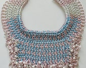 Statement jewelry, chain mail, chain maille, chain maille necklace, chain maille bib, bib necklace, silver and pink necklace, statement
