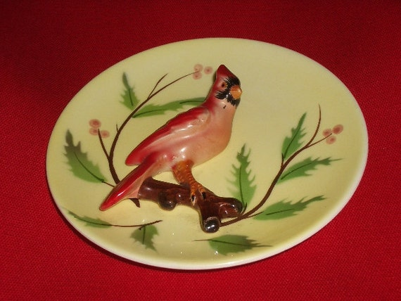Christmas Cardinal Decorative Plate Vintage 1960's - '70's Collectible 3 Dimensional Ceramic Plate