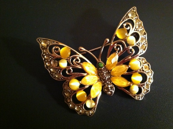 SALE SALE Signed Liz Claiborne LC Butterfly Bling Yellow Moonstone Rhinestone Brooch