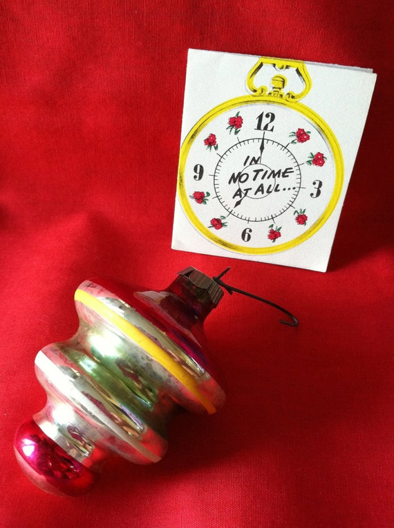 MAD MEN Vintage Christmas Ornament 1950s Metallic Glass Colorful Spiral Top