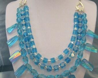 Handmade Beaded Aqua Glass filligree necklace