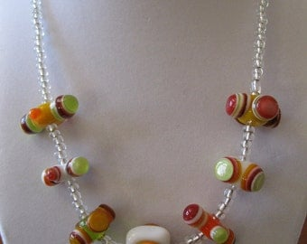 Handmade Glass Lampwork Bead Necklace
