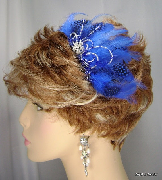 BeJeweled & Feathered Blue Hair Comb Fascinator Wedding Accessory, Bridal Accessory