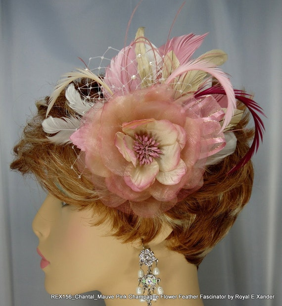 Mauve Pink Champagne Feather Fascinator Hair Clip Wedding Accessory Bridal Accessory