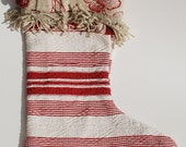 Christmas Stocking 13 Red & Cream Quilted Cotton with Linen Floral