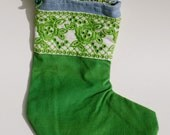 Christmas Stocking 4 Bright Green Brushed Cotton & Floral Canvas