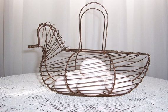 Vintage  Egg Gathering Wire Basket