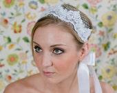 Bridal Headband ~ Lace & Satin Bridal Ribbon Headband with Russian Veiling and Swarvoski detailing