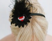Bridal Headband ~ Retro handcrafted black ostrich feather headband with sequin and love detailing