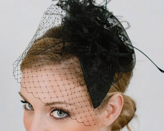 Bridal Fascinator~Black ostich feathers, birdcage veiling, vintage crinoline, bridal veil, wedding veil, bridal birdcage veil