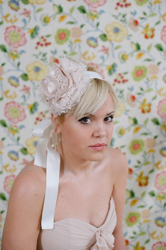 Bridal Headband ~ Hand crafted, champagne peony and lace bloom headband, accent with Swarvoski rhinestones
