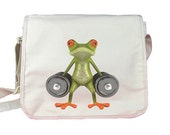 Mitsos the Frog is at the gym - Messenger Nylon 420d bag - White - Spacious main compartment with organizer features and flat inside pocket