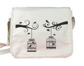 Bird Cage Messenger Bag White Background Black Birds Tree Branches Contemporary Romantic Style for school university college