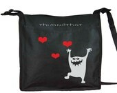 Monsters - tote - Shoulder black bag with 2 compartments - adjustable strap and double pen holder on the side - Women