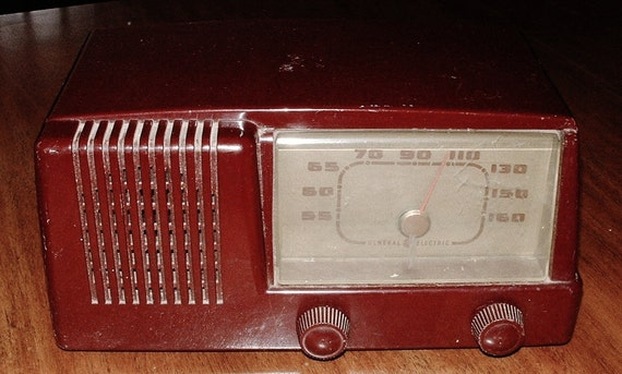 Reserved for Alice. 1950s Mid Century Modern  Model 401 General Electric Radio in Maroon Red