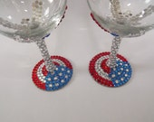Rhinestone Wine Glass American Flag Red White Blue