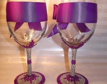 Rhinestone Bling Wine Glasses White Wine Jane