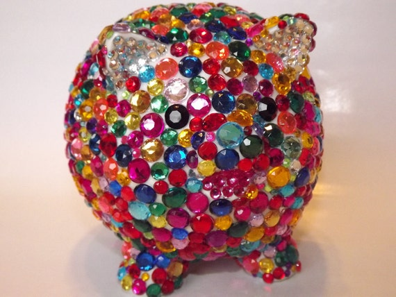 Bling rhinestone piggy bank by evrhinestones on etsy - Rhinestone piggy bank ...