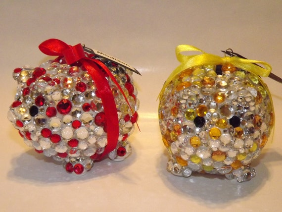 Items similar to rhinestone bling piggy bank party favors on etsy - Rhinestone piggy bank ...
