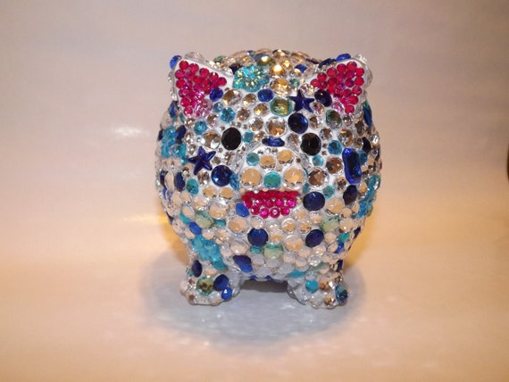 Rhinestone bling piggy bank by evrhinestones on etsy - Rhinestone piggy bank ...