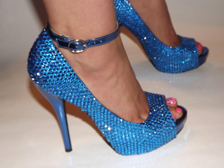 Blue Rhinestone Heels - Is Heel