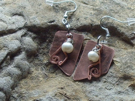 Fresh Water Pearls with Copper Artisan Earrings