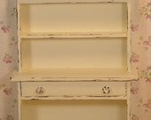Dollhouse Miniature One Inch Scale Shabby Chic Cabinet with Carved Rose Accents