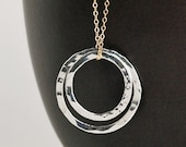 Circle Charm Necklace in Silver & Gold  - NAPA VALLEY CHARM Collection