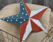 "12"" Metal Americana Star - Red White & Blue - Painted - Patriotic - Primitive - Shabby Chic - Home Decor - Stars and stripes"