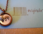 Handstamped Necklace, Personalized Sterling Silver Charm & Copper Bezel, with Pearl, Great for One Little Word
