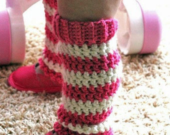 6 to 12 Month Leg Warmers - Pink and Off White -  Handcrafted by Ticklebebe