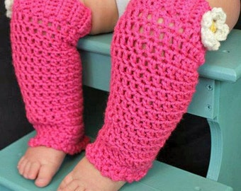 6 to 12 Month Leg Warmers - Rose Pink - Crocheted - Ticklebebe