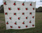 REDUCED Vintage Red Rose Wilendur Tablecloth