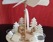 UNIQUE HANDMADE GERMAN Christmas Pyramid Wood Deer with Manger Fir Trees Rabbits Winter