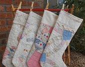 Vintage Quilt Christmas Stockings - Shabby Chic, Cottage, Farm House, Primitive, Cabin