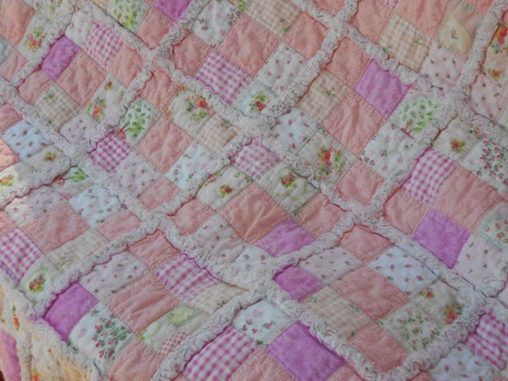 Reserved for Connie -Sale Price -Beautiful Shabby Chic Rag Quilt - Pinks