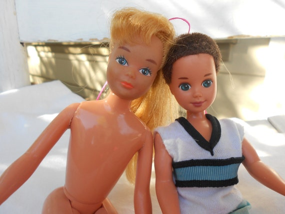 Vintage Barbies -  1967 Skipper  Doll and 1990 Todd Doll