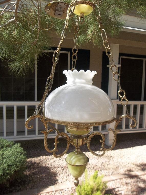 Sale Price -  Vintage Jadite/Jadeite Akro Agate Hanging Lamp - Light