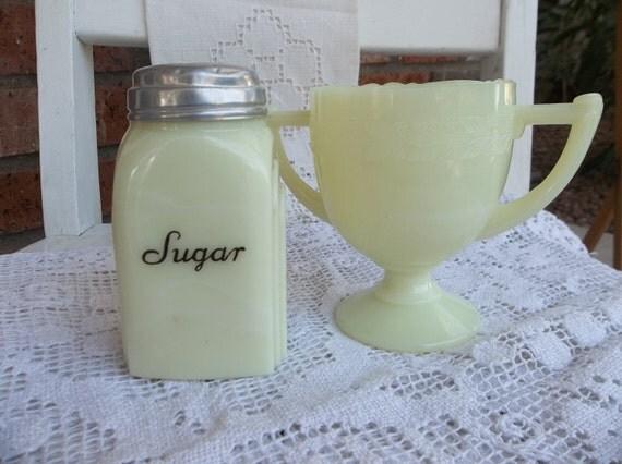 Retro Kitchen - Vintage McKee - Custard Color Roman Arch  Sugar Shaker and Laurel Sugar Bowl