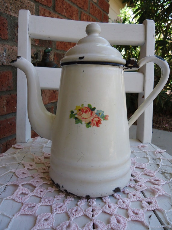 Vintage Shabby Chic French Country White Enamelware Coffee Pot with Vintage Meyercord Rose Decal  - Romantic - Cottage