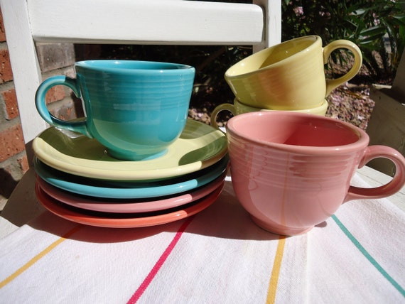 Fiesta Ware Cups and Saucers - Set of 4 Each - Turquoise, Yellow, Pink, Salmon - Retro Kitchen Fiestaware Homer Laughlin