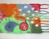 Table runner felted,painted felt table runner,large,home decor,ooak,spring colors,felt art,chartreuse,natural fiber,soft merino wool..