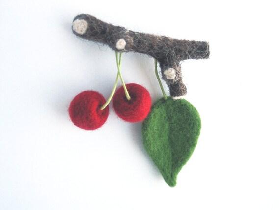 Needle felted cherry on twig, needle felted brooch, needle felted fruits ,felt brooch.One of a Kind.Natural fashion.Waldorf.Zakka.