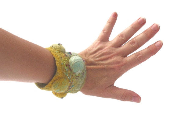 Felted bracelet yellow,green,nunofelt,cuff,wrist warmers,texture,eco friendly,handmade.OOAK.