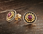 Silver and Gold Stud Earrings, Silver Gold Ruby Earrings, Ruby Stud Earrings, 22k Gold Round Earrings, Gift Idea For Her, Mother Day Gift