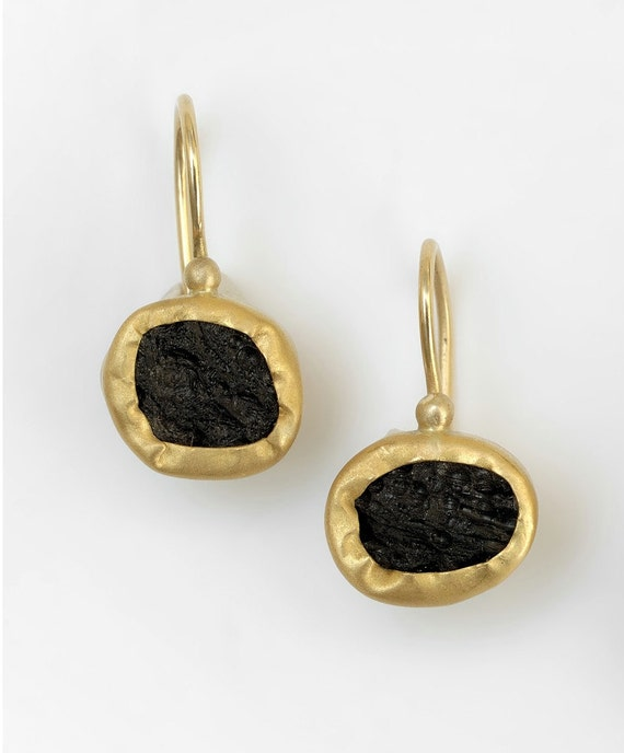 Reserved - 22k Gold Earrings with Black Tektite Stone, Evening Dress  black Gemstone Earrings, 22k Gold  Earrings& Tektite gemstone Earrings