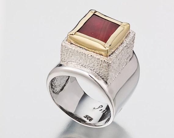 Silver Statement Ring, Carnelian Ring, Carnelian Stone, 22k Gold Ring, Silver and Gold Ring, Sterling silver Ring, Handmade Ring