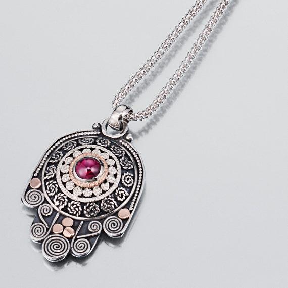 Gold and Silver Hamsa Necklace, Silver Hamsa Necklace with 14k Gold Garnet Stone,  Hamsa necklace, Garnet Hamsa Necklace, Kabbalah jewelry