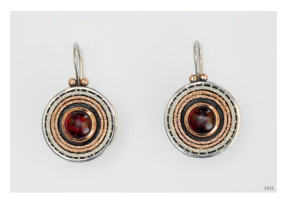 Reserved - 9k  gold  sterling silver earrings with garnet stone