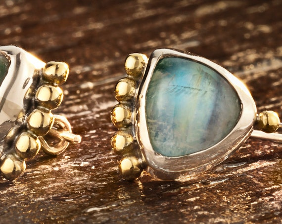Moonstone Earrings, 22k Gold Sterling Silver Moonstone Earrings, Silver and Gold Triangle Earrings with moonstone, OOAK